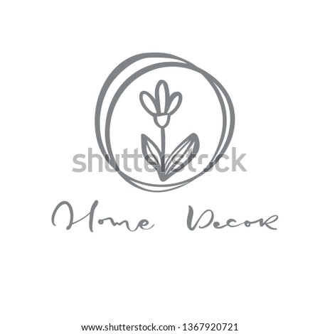 Vector scandinavian floral Logo. Hand drawn icon flower organic cosmetic, florist wedding, home decor. Home Decor text.