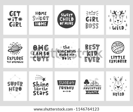 Vector scandinavian style posters set with hand drawn lettering phrases for nursery wall art, kids tee shirt print, postcard, baby shower invitation. Little explorer. Adventure awaits. Best kid ever.
