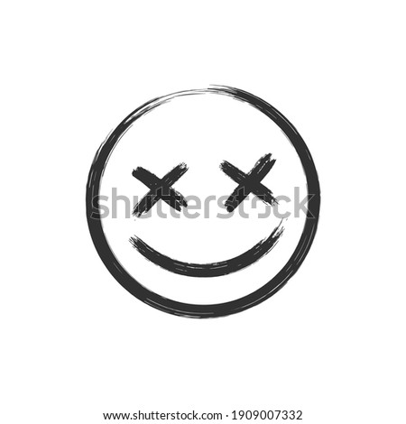 Vector scary hand drawn dead emoji, ink brush dead emoticon icon on a white background