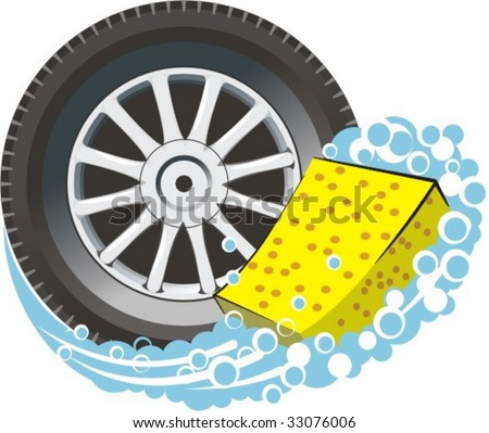 vector scene car travell about with washing sponge - stock vector