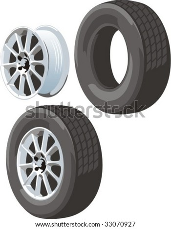 vector scene car  wheel disk and coverings