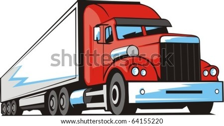 vector scene of heavy truck