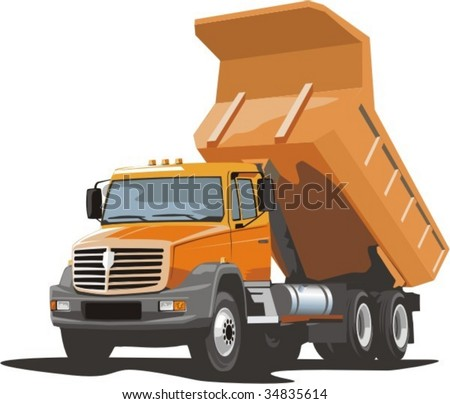 vector scene of the building dump truck for loose material