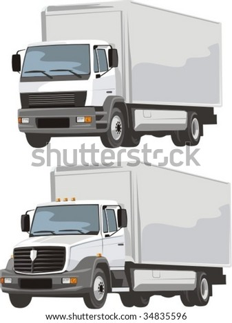 vector scene of two delivery lorry