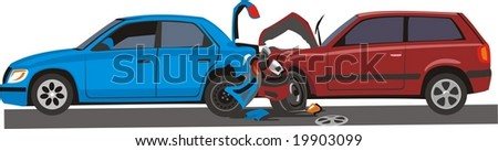 vector scene two faced cars