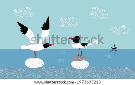 vector scene with two seagulls