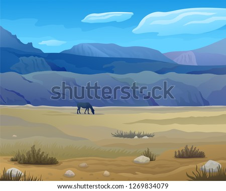 vector scenic prairie or steppe