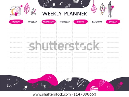 Vector schedule design With vector linear geometric shapes, crystals and space elements. Pyramid, constellations, comets, stars.  Weekly planner. Vector illustration