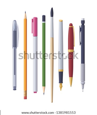 Vector school and office supplies stationery items assortment set pens pencils marker and brush