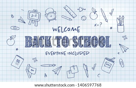 Vector school banner template. Welcome back to school everyone included blue text and education icon set on cage notebook. Concept of inclusive education. Design for schools, courses, colleges. EPS10.