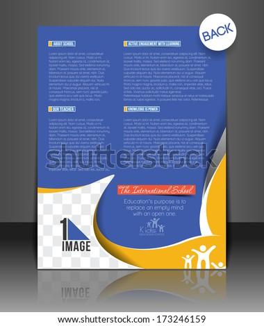 Vector School Brochure Flyer Back Magazine Cover & Poster Template