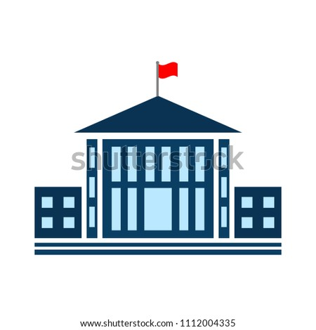 vector school building illustration, university symbol - education icon