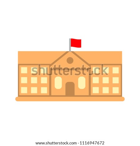 vector school building illustration, university symbol - education icon more
