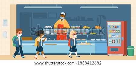 Vector School Canteen With Different Races Pupils In Protective Masks Standing In Line To Take. School Life During Covid-19 Pandemic. Flat Illustration. Stock photo ©