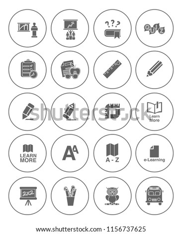 vector school & Education icons set - student learning and graduation symbols