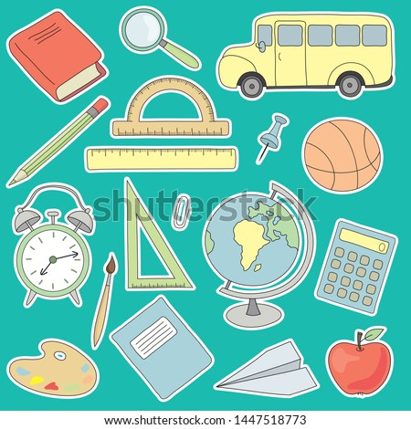 vector school icons set. vector set with scholl bus, notebook, alarm clock, ruler, pencil, pen, stationery