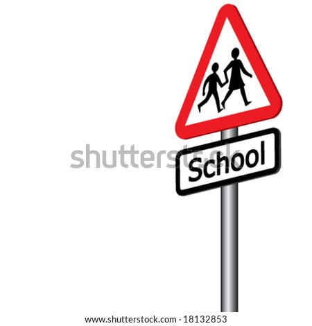Vector School Sign 3D (2 of 2) - Also available right facing