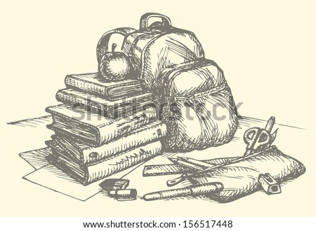 Vector School Still Life. A Stack Of Books With Apple ...