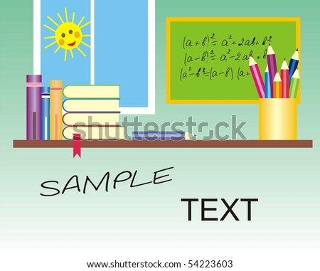 Vector school table with books and pencil