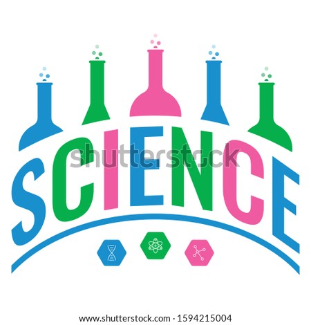 vector science and science symbols. science logo. science word dished in white background