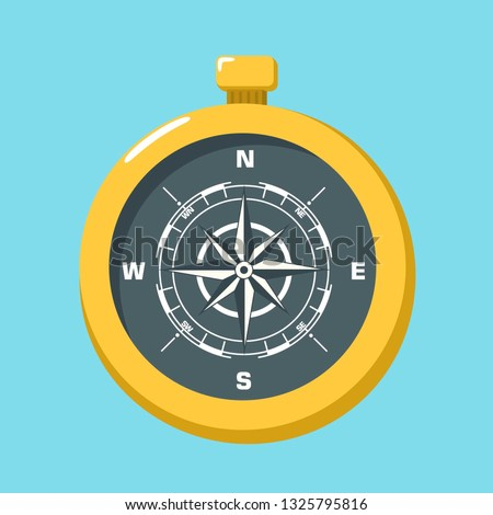 Vector science compass icon. Compass gold, with the image of the directions and the wind rose. Compass illustration in flat minimalism style.
