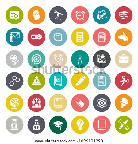 vector Science, school & Education icons set - student learning and graduation symbols