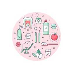 Vector scientific background with outlined icons about dentist equipment. Fun educational style, good for kids. Stomatology and Orthodontics Tools, tooth structure.