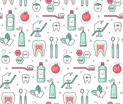 Vector scientific seamless pattern with dentist equipment on white background. Fun iconic style Stomatology and Orthodontics Tools, tooth structure.