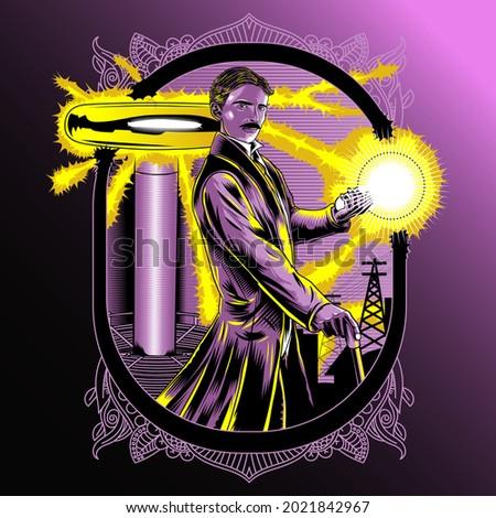 Vector Scientist Nikola Tesla illustration graphic design poster.