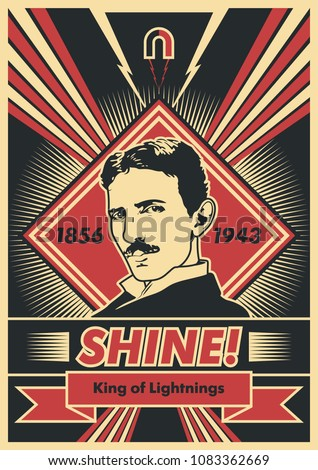 Vector Scientist Nikola Tesla Poster. Obey Stylization