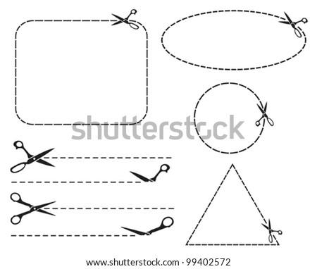 Vector scissors cut lines (cutting scissors) - stock vector