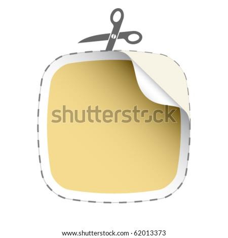 vector scissors cutting beige sticker