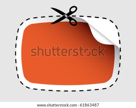 vector scissors cutting sticker