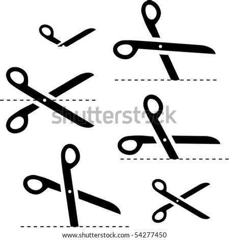 Vector scissors with cut lines ストックフォト ©