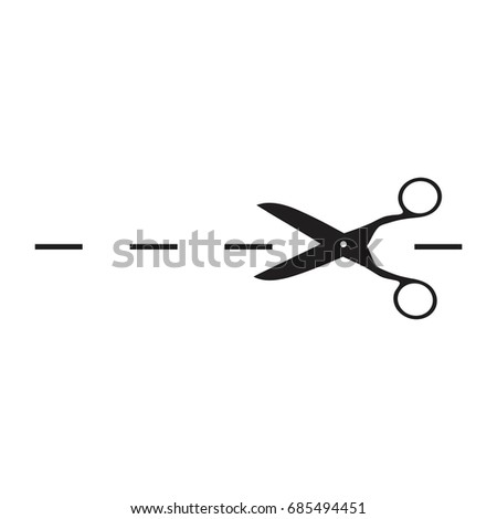 Vector scissors with cut lines isolated , Scissors with cut lines