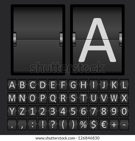 Vector Scoreboard Letters and Numbers Alphabet mechanical panel