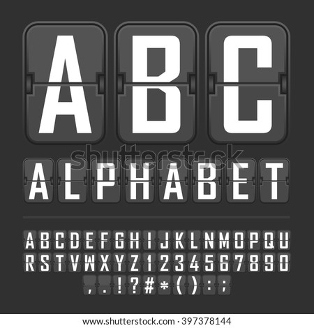 Vector Scoreboard Letters and Numbers Alphabet mechanical panel.