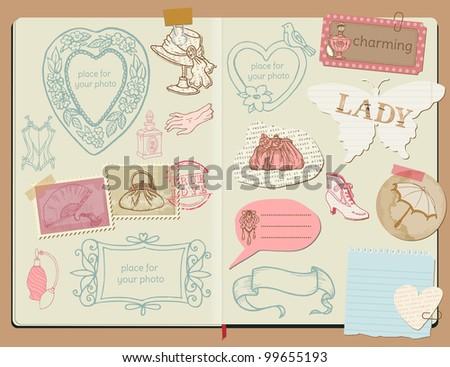 Vector Scrapbook Design Elements - Vintage Lady Set -  hand drawn in notepad