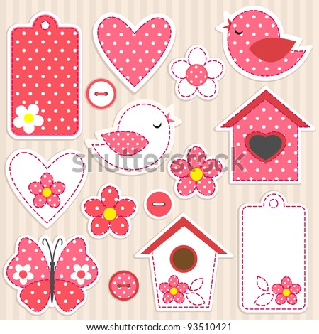 Vector scrapbook elements - love set