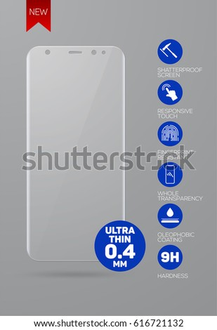 Vector screen protector film or glass cover for new version smartphone isolated on grey background, mobile accessory.