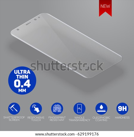 Vector screen protector film or glass cover isolated on grey background, mobile accessory.