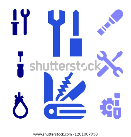 Vector screwdriver icon for use of screwdriver icon everywhere. Filled screwdriver icons such as tools, swiss knife, screwdriver, tool
