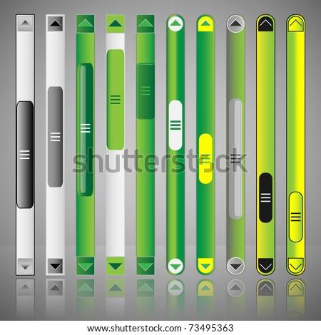 Vector scroll bar set for web template
