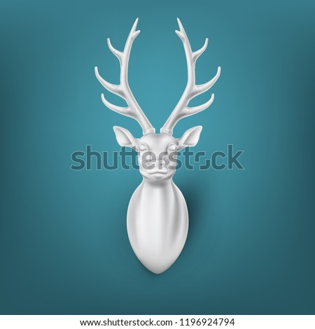 Vector sculpture 3d deer head with horns. Realisitc christmas, new year animal. Hunting trophy, winter forest reindeer. Horned antler mammal for poster, greeting card design. illustration on blue