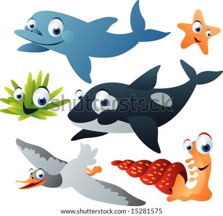 vector sea animal set 17: dolphin, killer-whale, seagull, starfish, mollusk