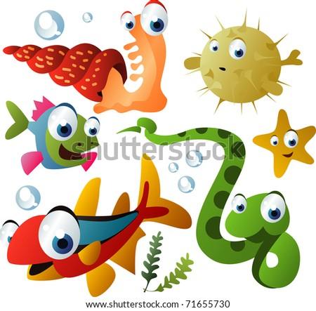 vector sea animals