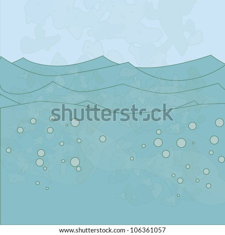 Vector sea background with watercolor effect and bubbles
