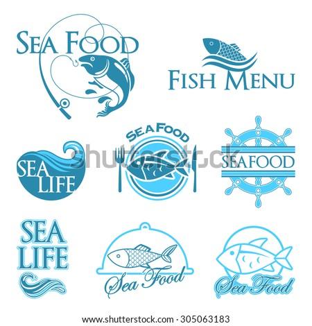 vector sea food labels