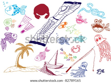 vector sea holliday hand drawn icons