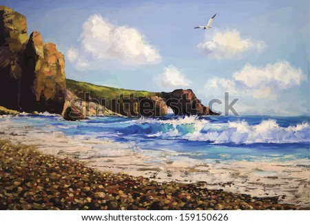vector sea landscape with